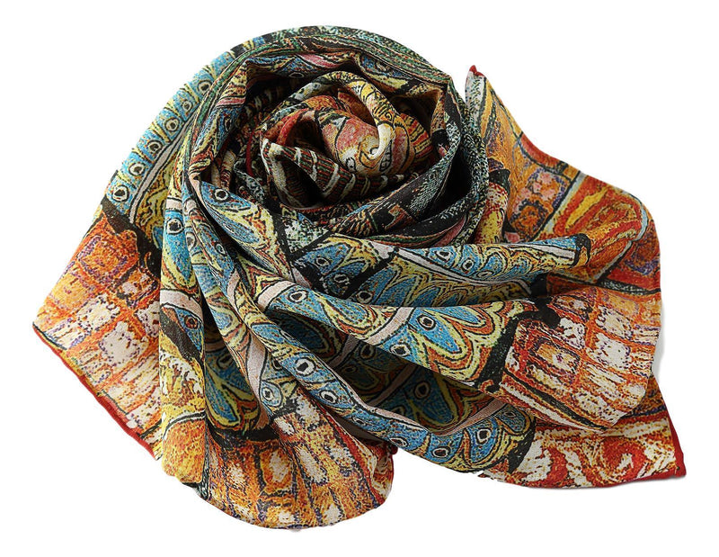 Long Crepe Silk Scarf Orange and Turquoise Classic Painting LSZ021