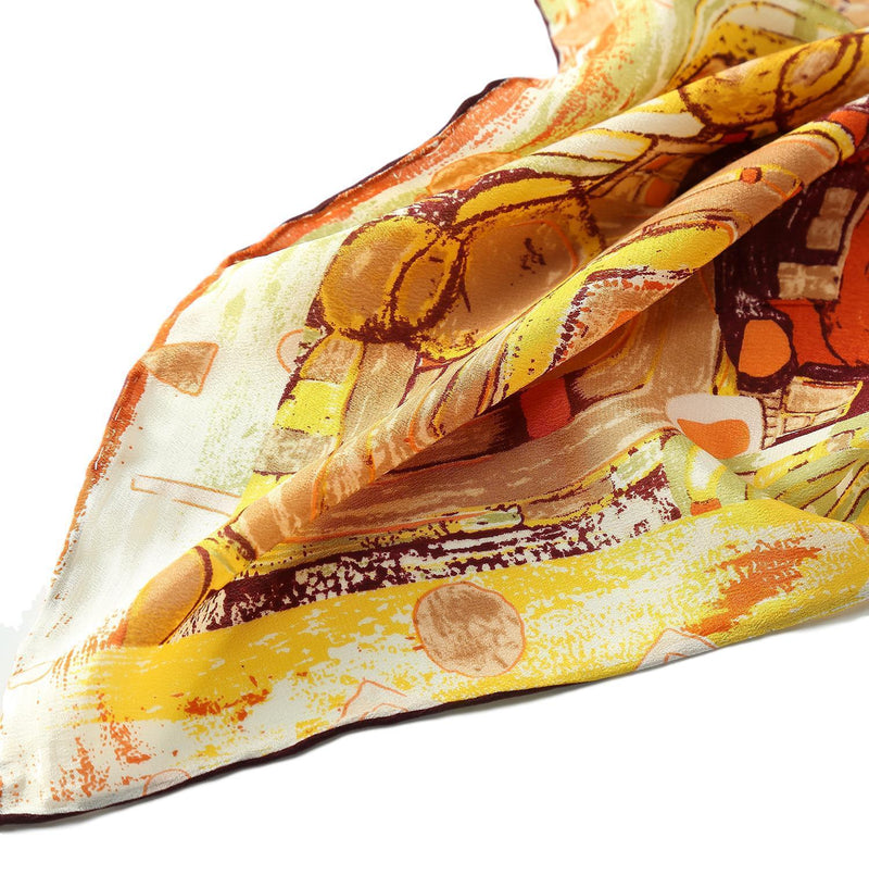Yangtze Store Long Crepe Silk Scarf Orange Theme Classic Painting LSZ023