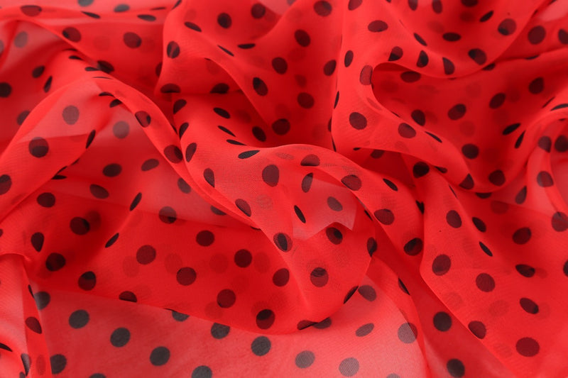 Yangtze Store Long Sheer Chiffon Scarf Red Theme Polka Dot Print CHL426