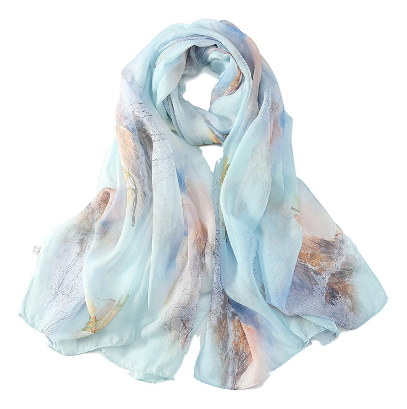Yangtze Store Long Silk Chiffon Scarf Light Blue Theme Floral Print SCH314