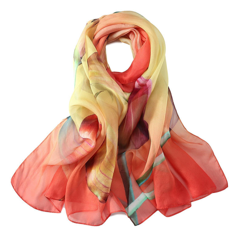 Yangtze Store Long Silk Chiffon Scarf Red and Yellow Floral Print SCH315