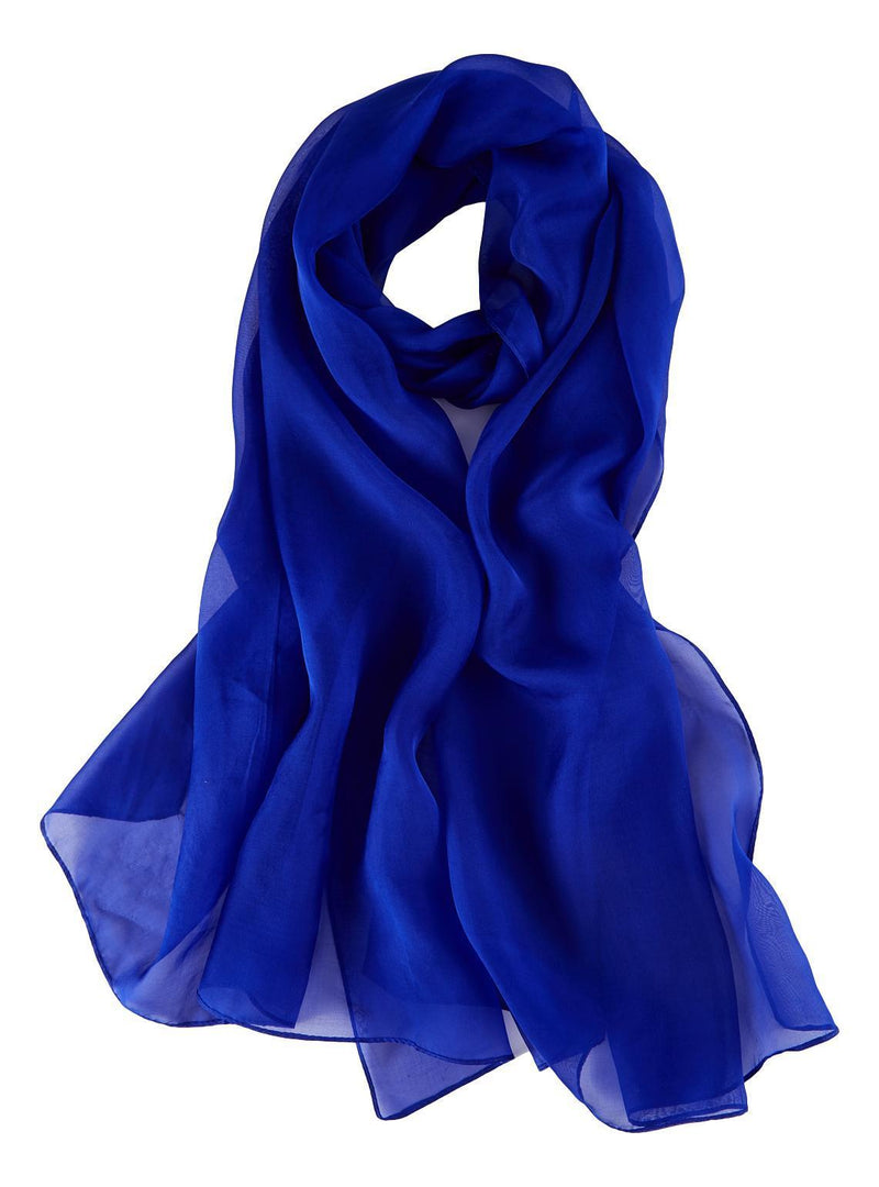 Yangtze Store Long Silk Chiffon Scarf Solid Blue Color SQL204