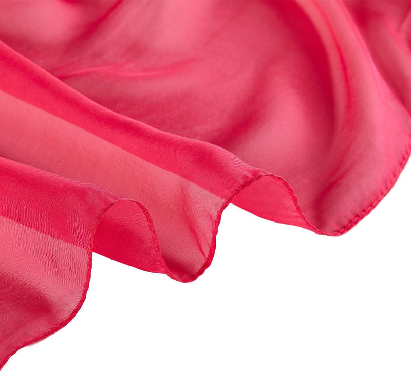 Yangtze Store Long Silk Chiffon Scarf Solid Fuschia Color SQL207