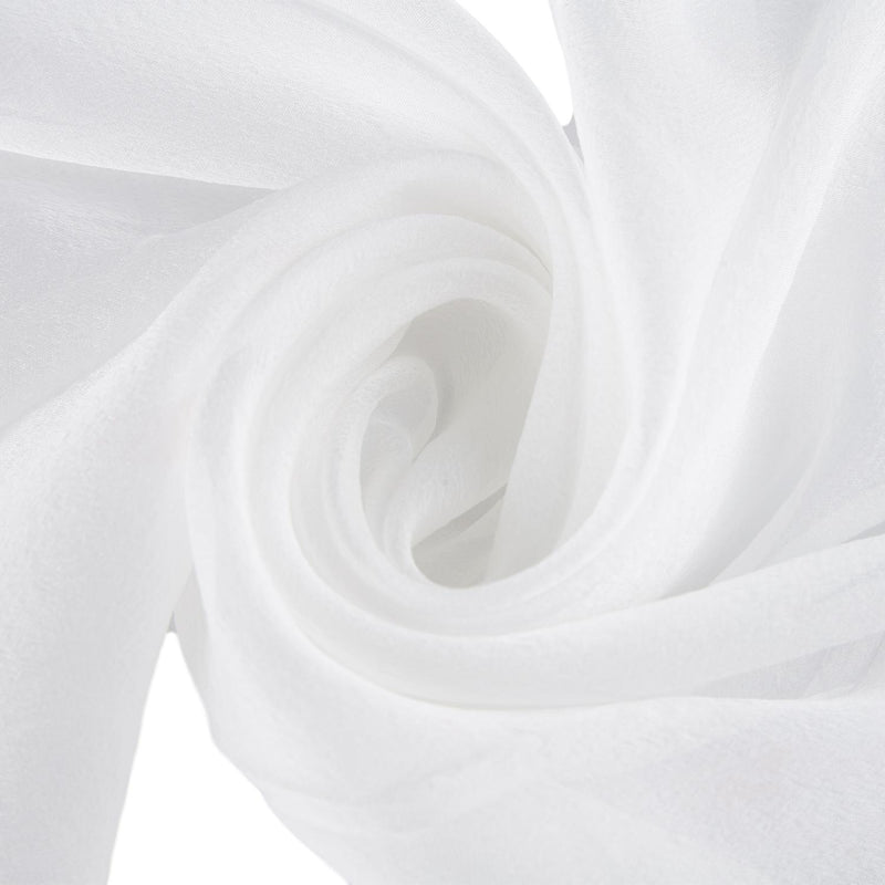 Yangtze Store Long Silk Chiffon Scarf Solid White Color SQL201