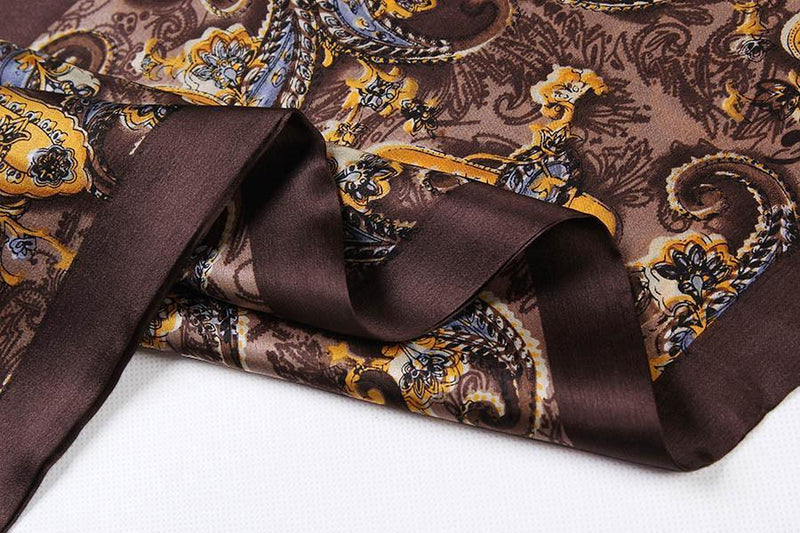 Yangtze Store Long Silk Satin Scarf for Men Dark Brown Paisley Print SFM016