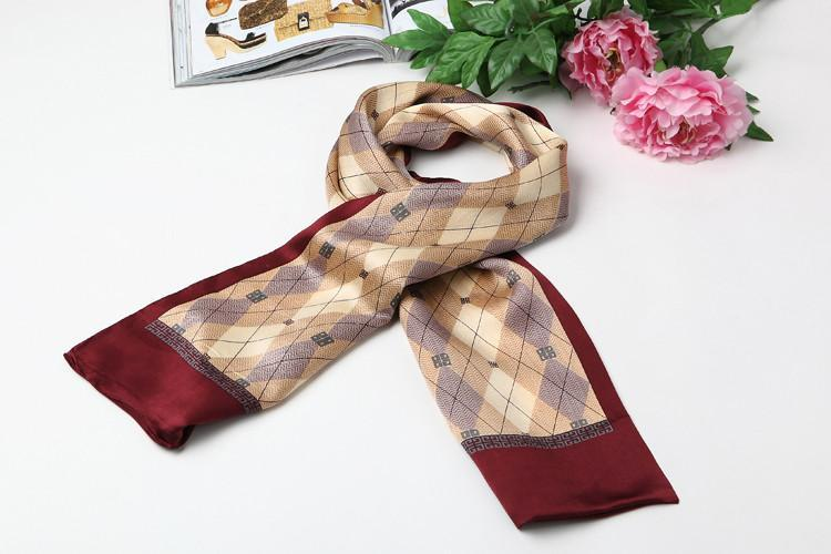 Yangtze Store Long Silk Satin Scarf for Men Maroon SFM011