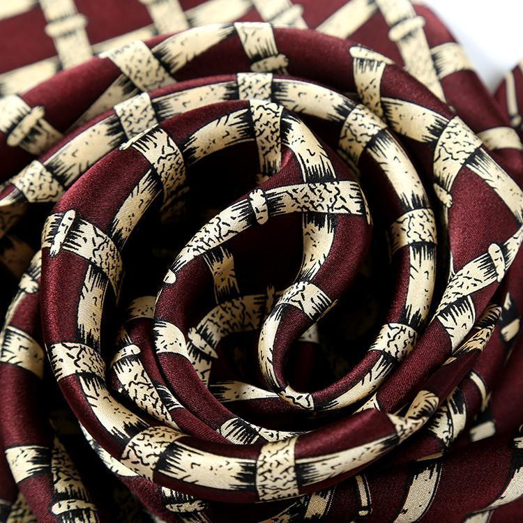 Yangtze Store Long Silk Satin Scarf for Men Maroon Theme Check Print SFM033
