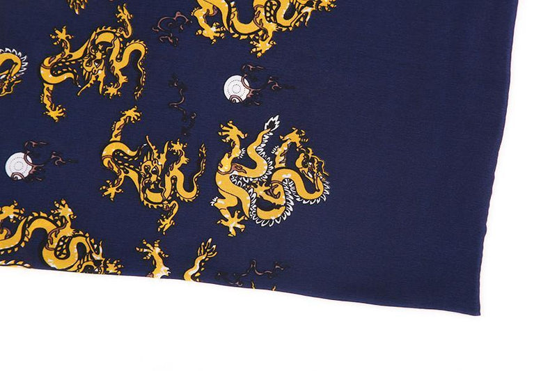 Yangtze Store Long Silk Satin Scarf for Men Navy Blue Theme Dragon Print SFM020