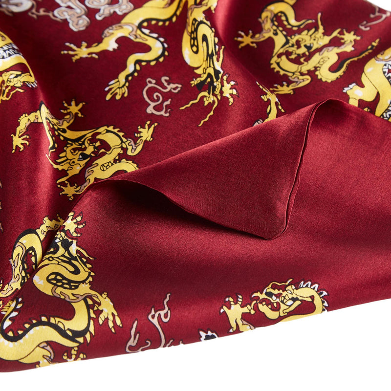Yangtze Store Long Silk Scarf for Men Maroon Theme Dragon Print SFM041