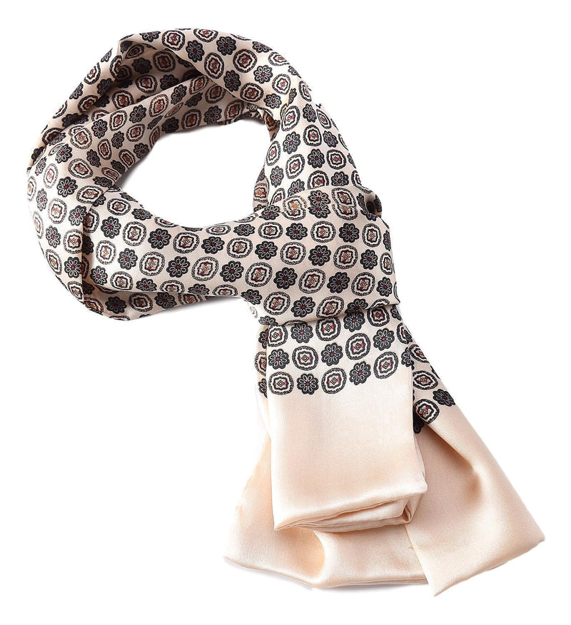 Yangtze Store Long Silk Scarf for Men Taupe Theme Check Print SFM035