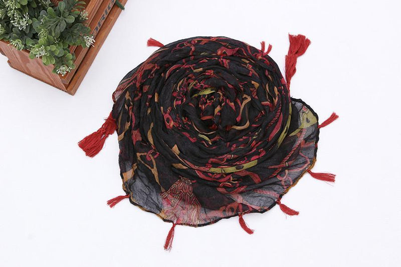 Yangtze Store Long Viscose Scarf Black and Red with Fringes COT214