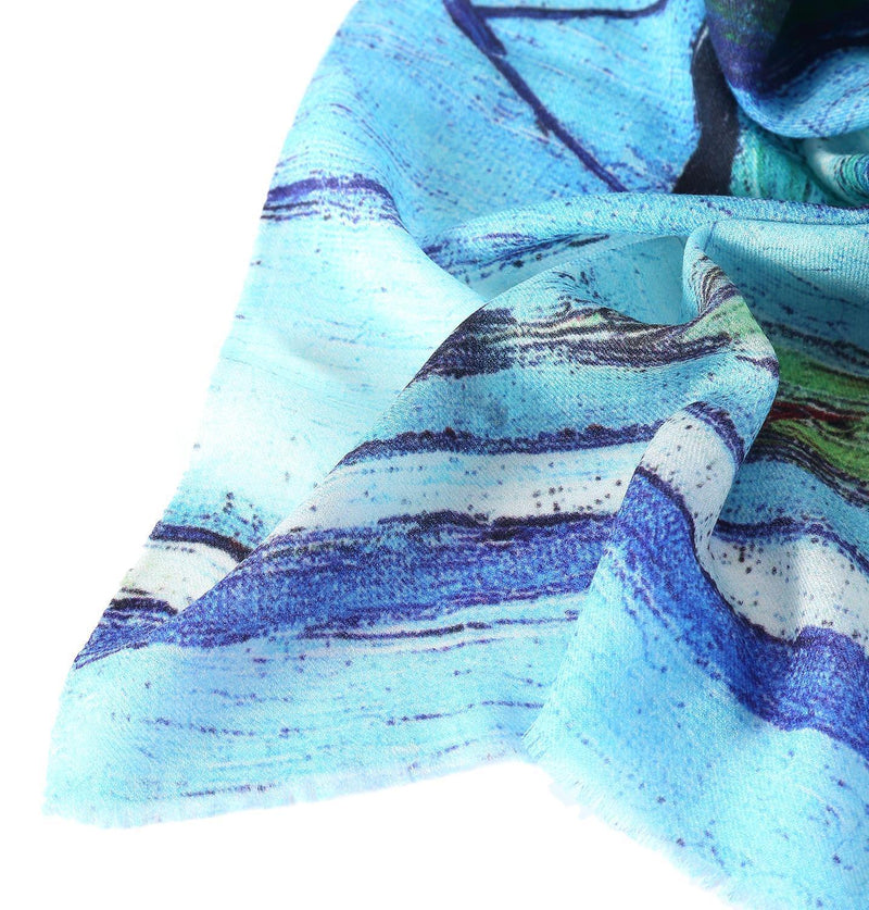 Yangtze Store Luxurious Extra Wide 100% Cashmere Scarf & Wrap Blue and Yellow Art Print CSH223