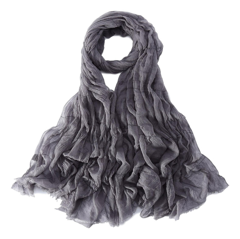Yangtze Store Luxurious Extra Wide 100% Cashmere Scarf & Wrap Gray Color Plaid Print CSH233