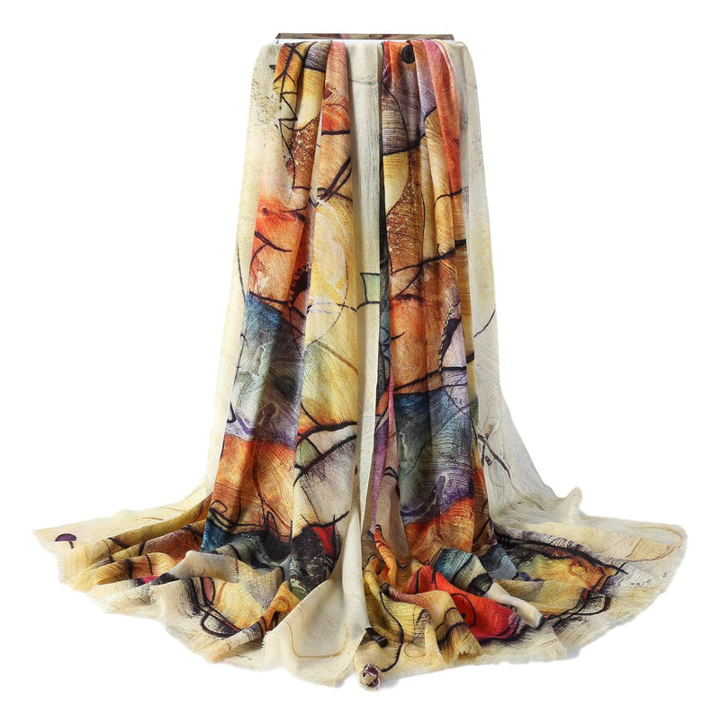 Yangtze Store Luxurious Extra Wide 100% Cashmere Scarf & Wrap Ivory and Yellow Art Print CSH226