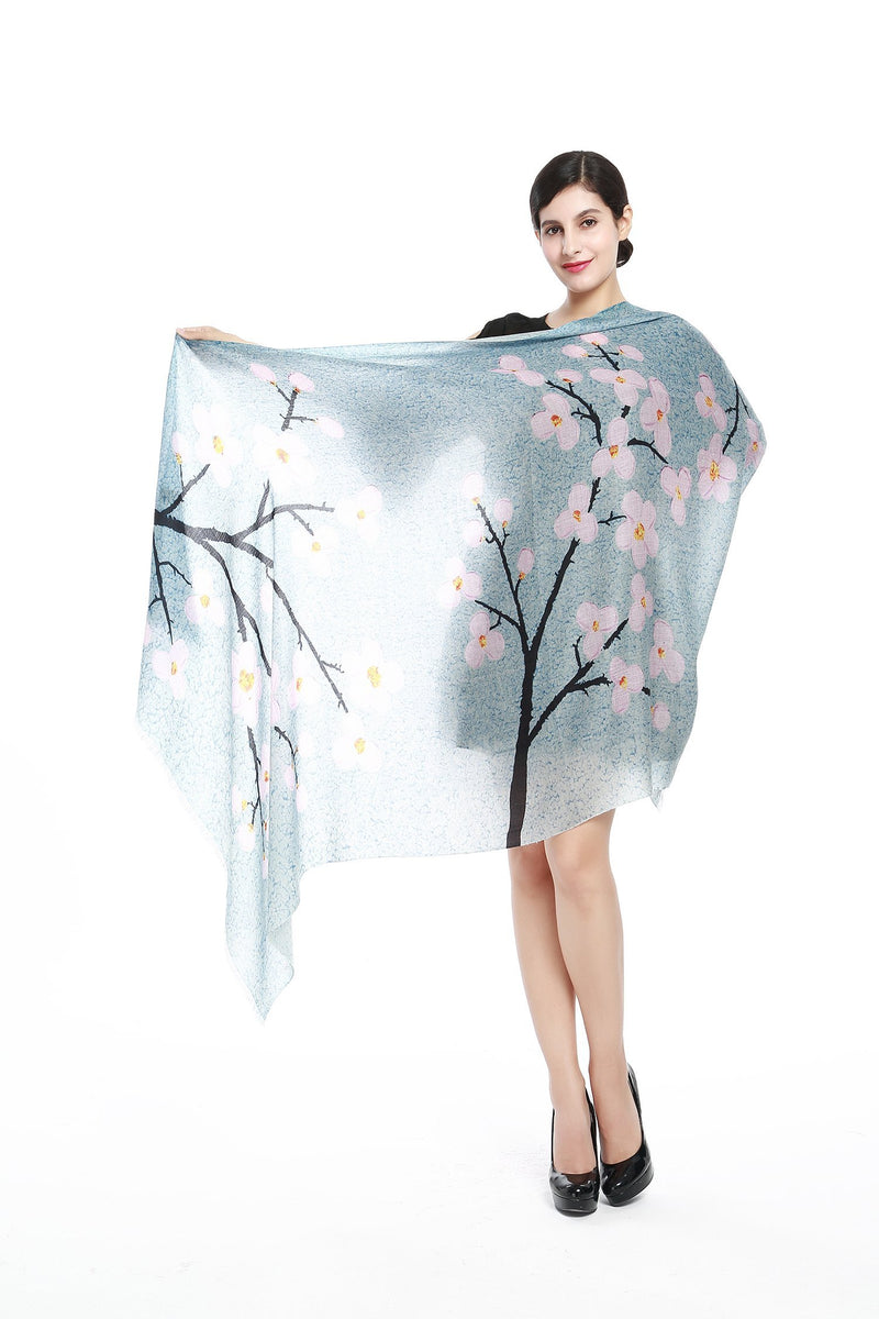 Yangtze Store Luxurious Extra Wide 100% Cashmere Scarf & Wrap Light Blue Floral Print CSH219