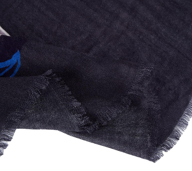 Yangtze Store Luxurious Extra Wide 100% Cashmere Scarf & Wrap Navy Abstract CSH246