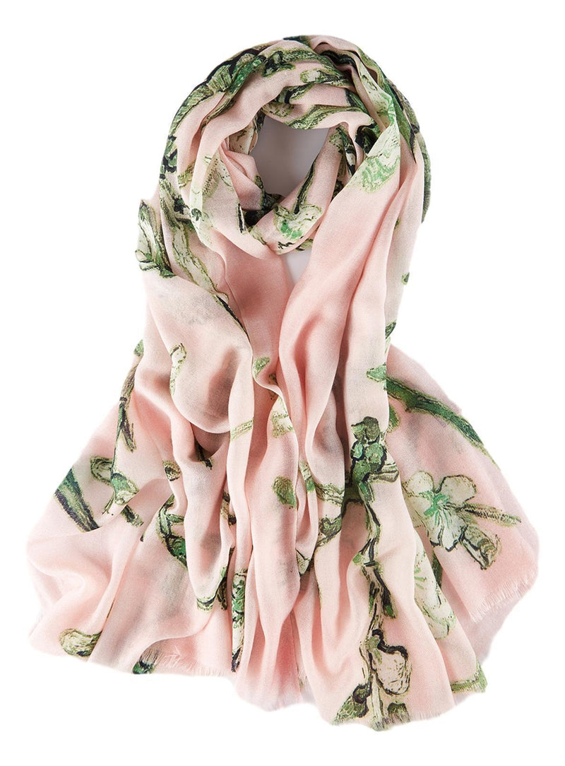 Yangtze Store Luxurious Extra Wide 100% Cashmere Scarf & Wrap Pink Floral Print CSH242
