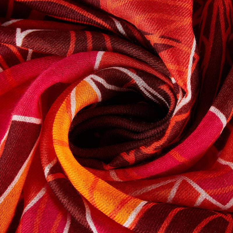Yangtze Store Luxurious Extra Wide 100% Cashmere Scarf & Wrap Red Abstract CSH247
