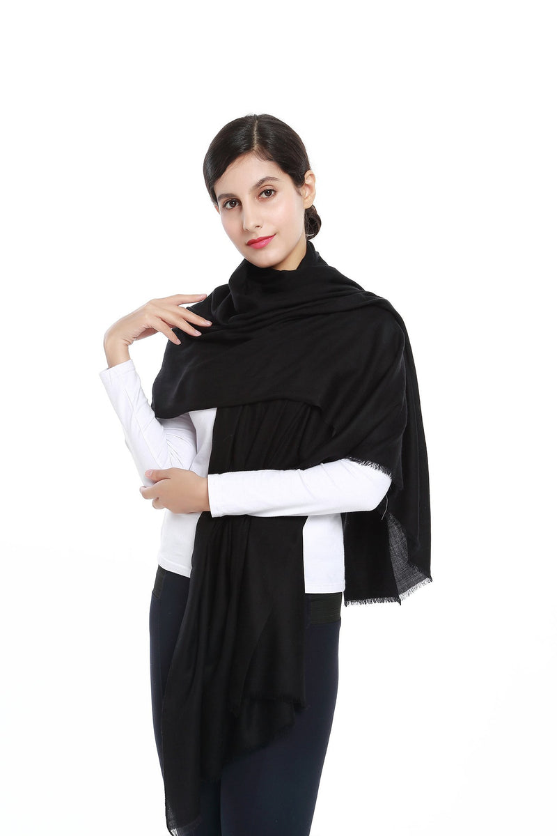 Yangtze Store Luxurious Extra Wide 100% Cashmere Scarf & Wrap Solid Black CSH203