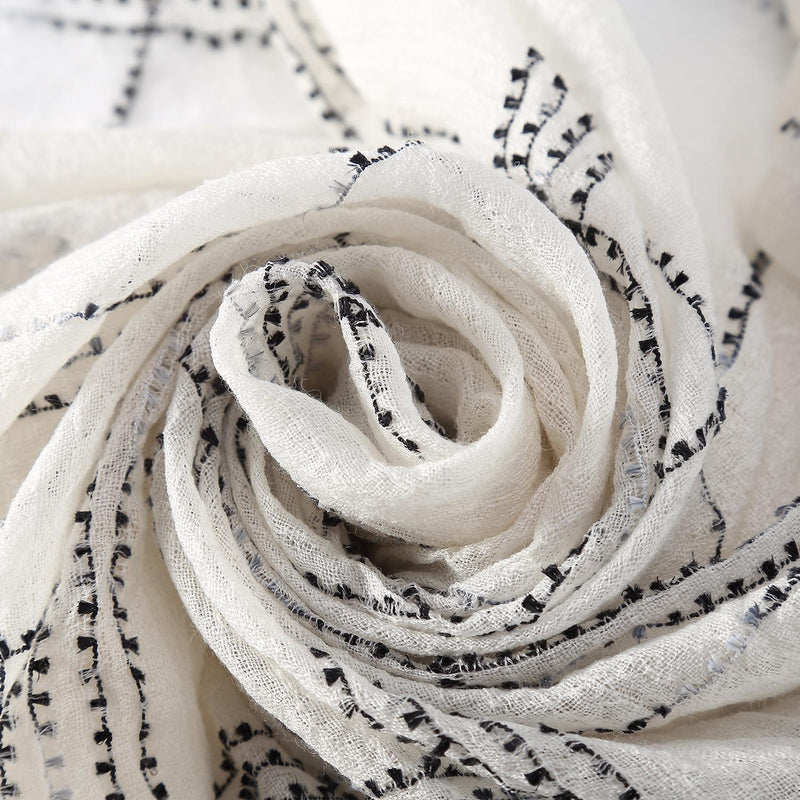 Yangtze Store Luxurious Extra Wide 100% Cashmere Scarf & Wrap White Color Plaid Print CSH231