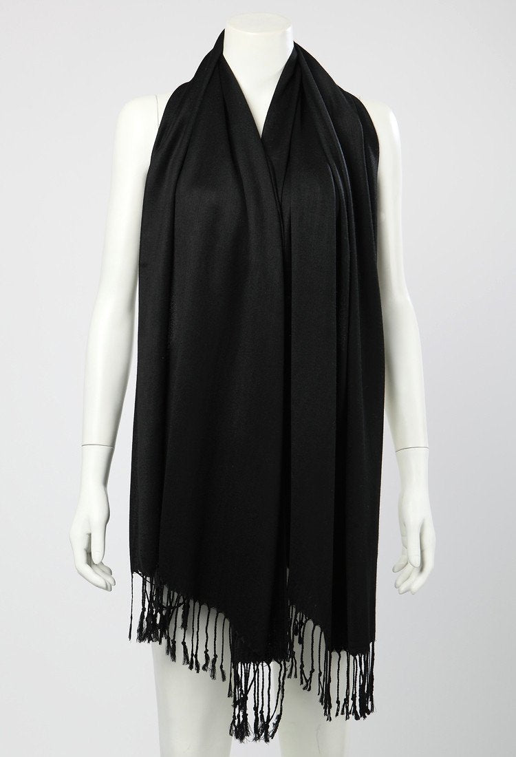 Yangtze Store Pashmina Wrap Shawl Scarf Plain Black Color PSH007