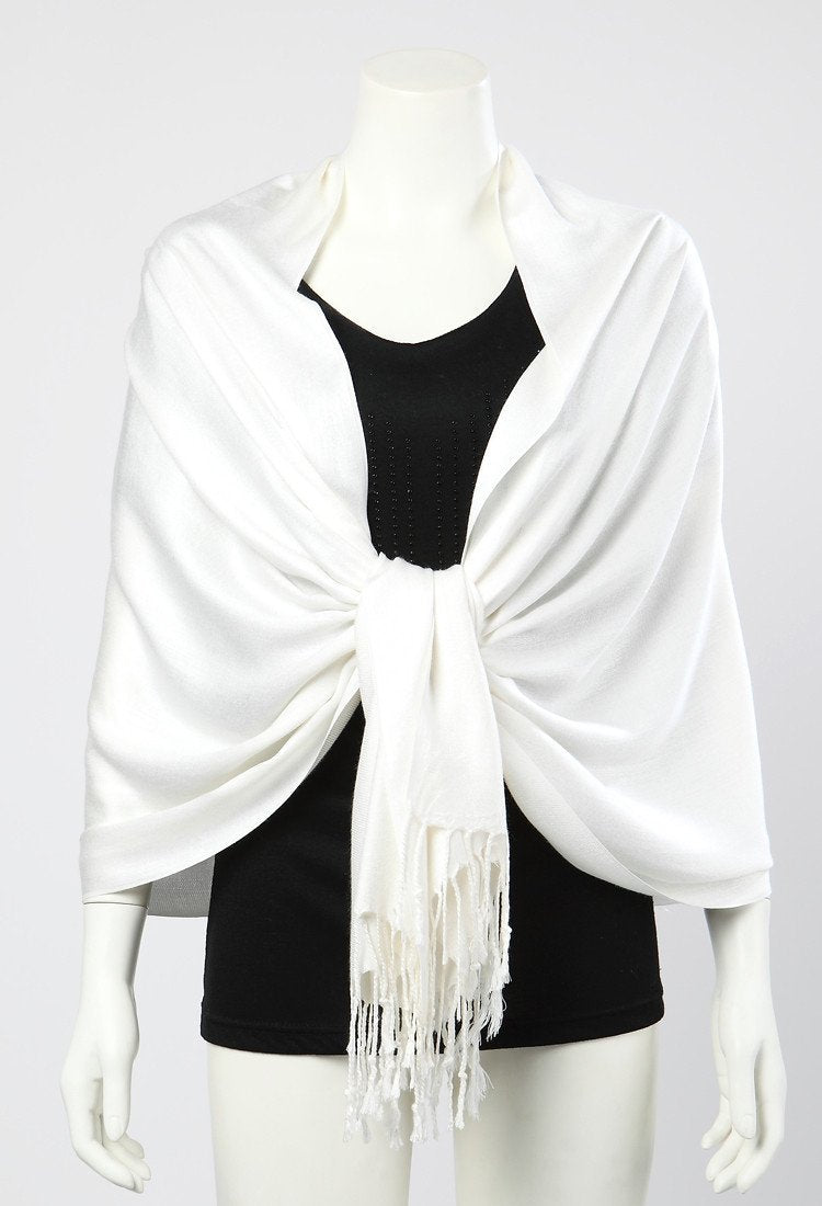 Yangtze Store Pashmina Wrap Shawl Scarf Plain White Color PSH009