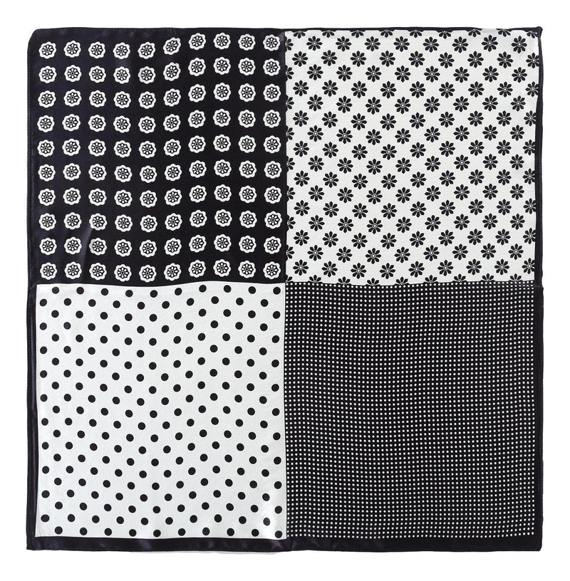 Yangtze Store Silk Neckerchief Small Square Silk Scarf Black and White Polka Dot Print XFJ234