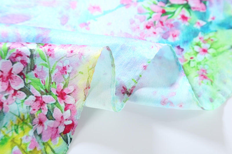 Yangtze Store Silk Neckerchief Small Square Silk Scarf Blue Theme Floral Print XFD201