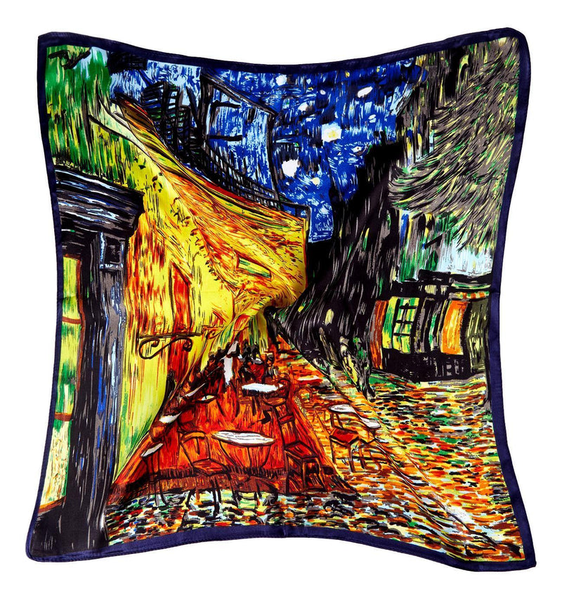 Yangtze Store Silk Neckerchief Small Square Silk Scarf Cafe Terrace At Night By Van Gogh XFJ411