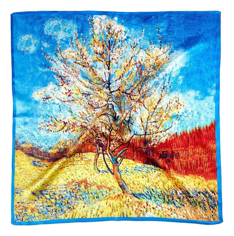 Yangtze Store Silk Neckerchief Small Square Silk Scarf Pink Peach Tree by Van Gogh XFJ403