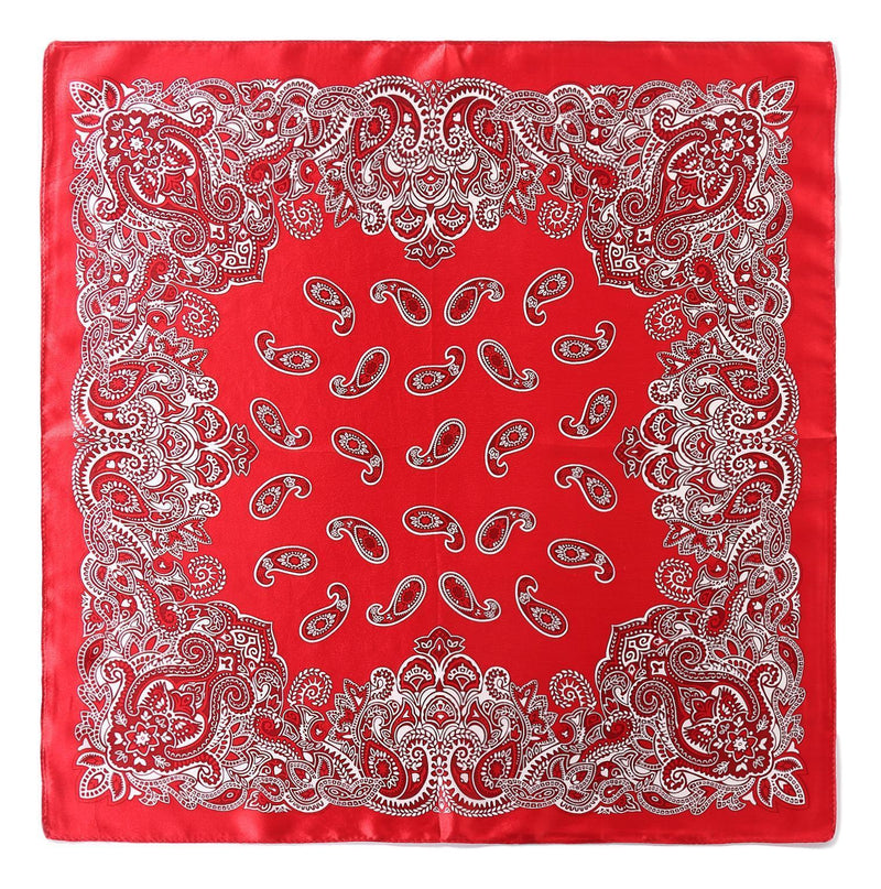 Yangtze Store Silk Neckerchief Small Square Silk Scarf Red Theme Paisley Print XFJ233
