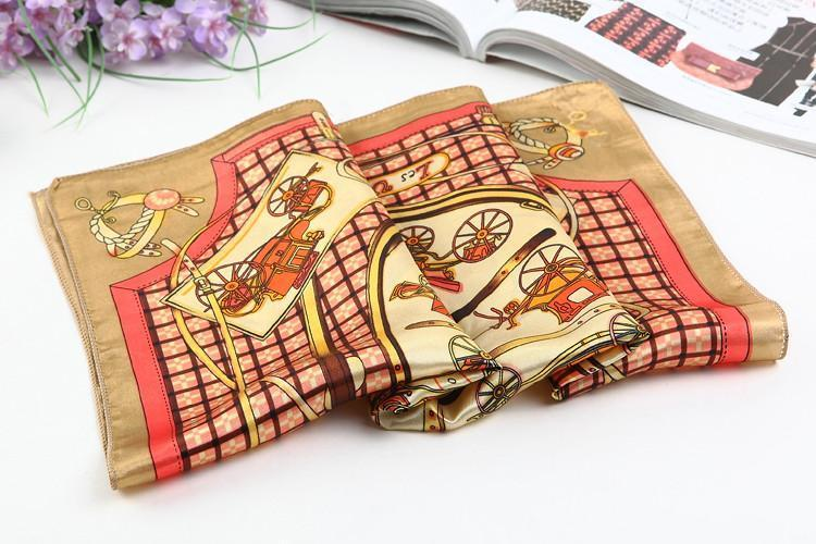 Yangtze Store Small Square Satin Scarf Brown Theme Carriage and Belts Print XAT004