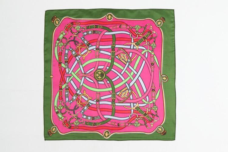 Yangtze Store Small Square Satin Scarf Green and Pink Theme Belts Print XAT005
