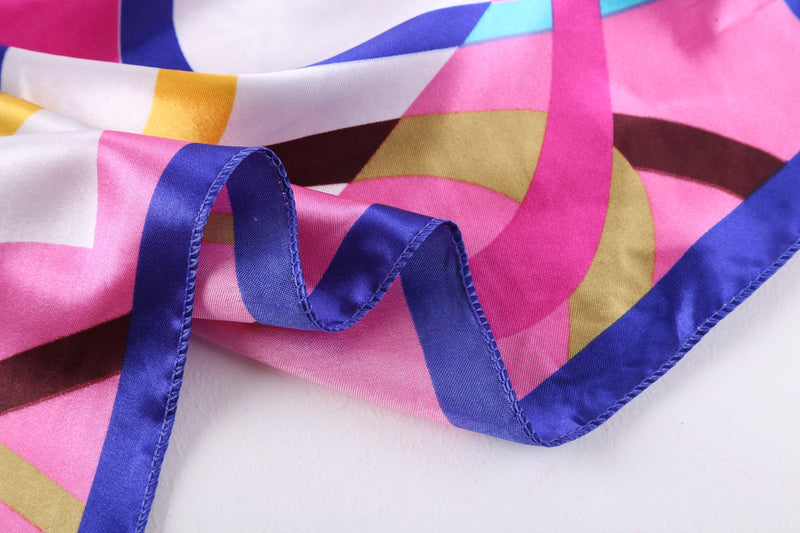 Yangtze Store Small Square Satin Scarf Neckerchief Blue and Pink Geometric Print XAT021