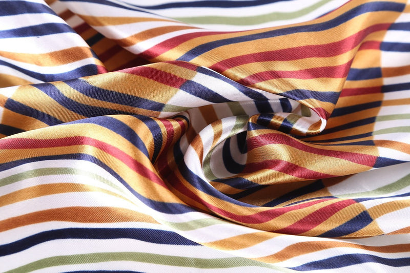 Yangtze Store Small Square Satin Scarf Neckerchief Navy Theme Striped Print XAT022