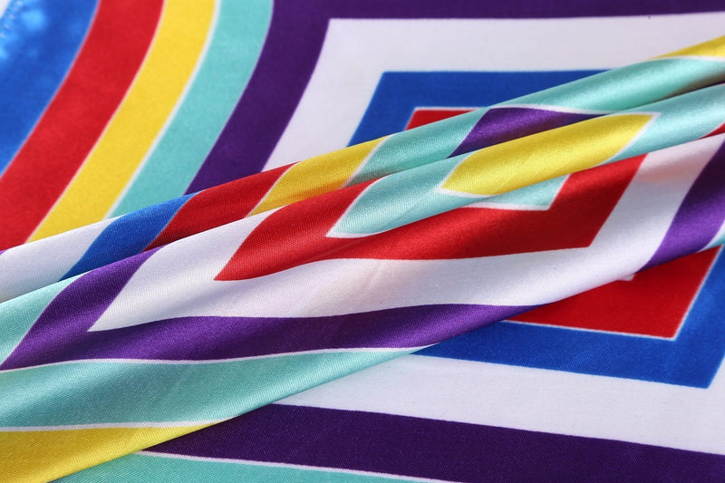 Yangtze Store Small Square Satin Scarf Neckerchief Rainbow Color Striped Print XAT025