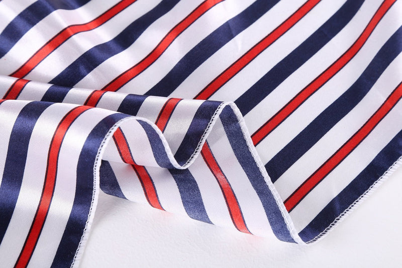 Yangtze Store Small Square Satin Scarf Neckerchief Red and Navy Striped Print XAT024