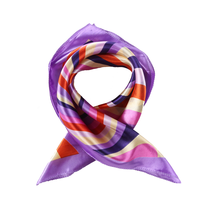 Yangtze Store Small Square Satin Scarf Neckerchief Violet Color Curves Print XAT027