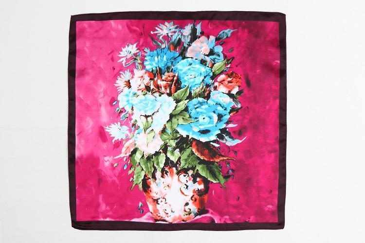 Yangtze Store Small Square Satin Scarf Pink Theme Flower Print XAT001