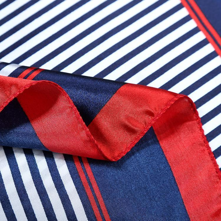 Yangtze Store Small Square Satin Scarf Red and Navy Theme Striped Print XAT015