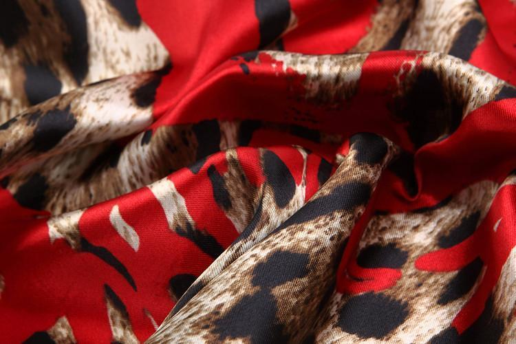 Yangtze Store Small Square Satin Scarf Red Theme Leopard Print XAT007