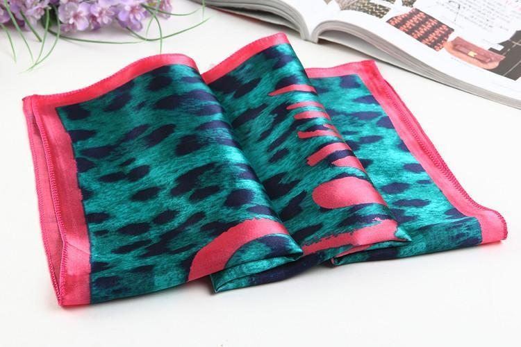 Yangtze Store Small Square Satin Scarf Turquoise Theme Leopard Print XAT003