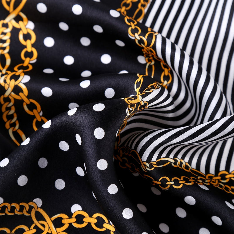 Yangtze Store Small Square Silk Scarf Neckerchief Black Theme Polka Dot Print XFJ227