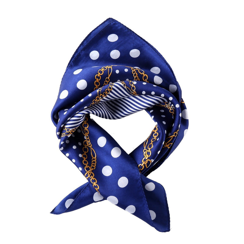 Yangtze Store Small Square Silk Scarf Neckerchief Blue Theme Polka Dot Print XFJ228