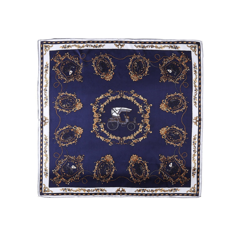 Yangtze Store Small Square Silk Scarf Neckerchief Navy Theme Carriage Print XFJ221