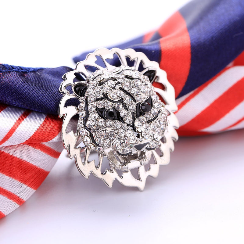 Yangtze Store Women's Fashion Silk Scarf Buckle Black and White Crystal Clip Ring BUK002