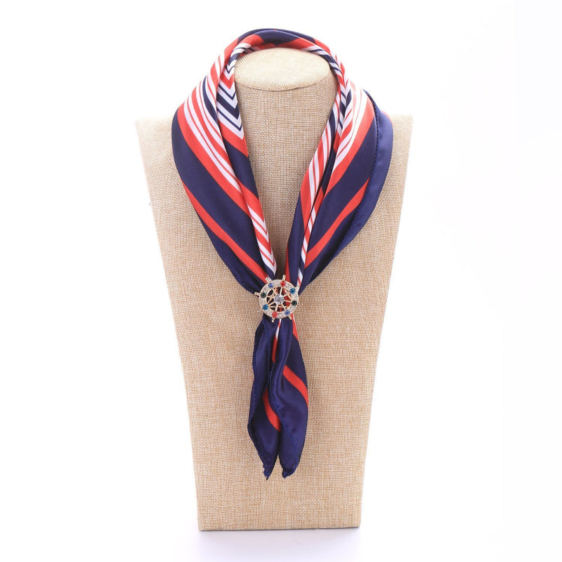 Yangtze Store Women's Fashion Silk Scarf Buckle Gold Crystal Clip Ring BUK001