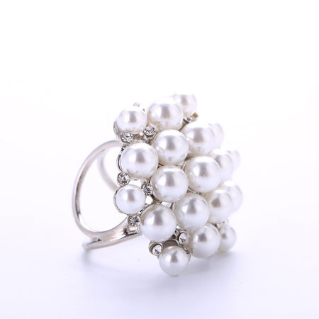 Yangtze Store Women's Fashion Silk Scarf Buckle Silver Pearl and Crystal Clip Ring BUK004
