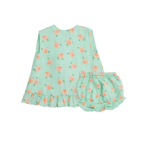 Petite Rose Muslin Ruffle Top and Bloomer