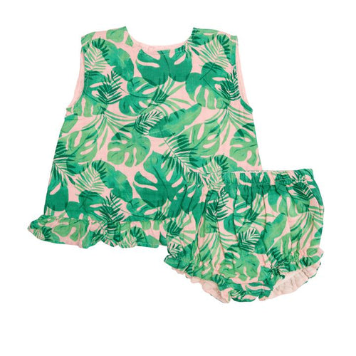 Tropical Leaves- Ruffle Top and Bloomer